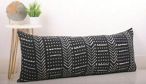Hand Block Print Cotton Bolster Pillow Case Mudcloth Handloom Lumbar Pillow Case