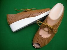 LADIES  NEW  MOLLINI TAN LEATHER LACE UP LOW WEDGE HEEL SHOES SIZE 9/40