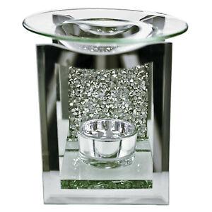 Diamante Multi Crystal Mosaic Mirrored Oil Burner Tea Light Candle Glass Holder
