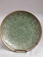 Brass Pedestal Trinket Bowl Sage Color and Gold Enameled Top Floral Century