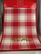 """Lenox American By Design Holiday Plaid & HollyBerry 14"""" x 70"""" Table Runner"""