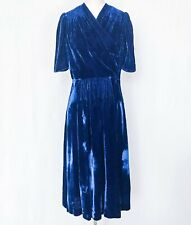 New listing Vintage Dress 1930s - 1940s Royal Blue Velvet Midi Dress Gorgeous! Sm/Med