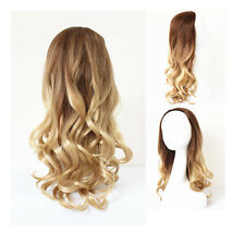 "24"" Long Hair Wig 3/4 Full Head Hairpiece Wavy Curly Frizzy Puffy Ombre Blonde"