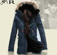 Winter Mens Fur Collar Hooded Parka Thick Cotton Padded Coats Outwear Jackets