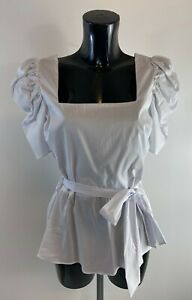 Ladies new ex River Island white top with belt size  6 8 10 12 16