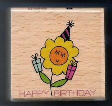 HAPPY BIRTHDAY FLOWER Party Hat Hampton Art Studio G Card NEW Words RUBBER STAMP