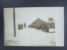Sanborn Minnesota MN Real Photo RPPC Railroad Train Depot Elevator Snow c.1910