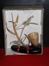 MIB Vintage Asian Hand Carved Horn Ghost Shrimp Prawn Sea Weed Ocean Sculpture