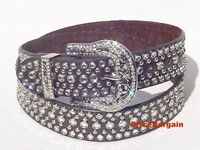 Western Rhinestone Crystal Stud Chocolate Brown Snap On Buckle Leather Belt M SM