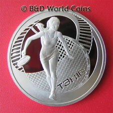 2005 BELARUS ONE 1 ROUBLE PROOF WOMAN BIG TENNIS PLAYER Cu-Ni 33mm (no silver)