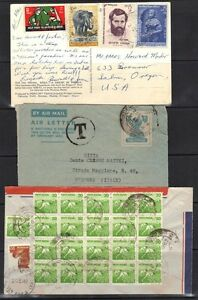 """INDIA 1940-80's TEN COVERS ONE WITH """"T"""" POSTAGE DUE & h with 6H & 15 FRANKINGS"""
