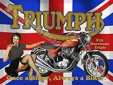 X75 Triple Motorcycle, Motorbike British Flag, Pin up Girl, Small Metal/Tin Sign