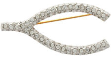 Swarovski Crystals Ari D Norman Gold Plated Wishbone Brooch With Clear