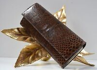 Clutch in Reptiloptik Leder braun Handtasche Tasche TRUE VINTAGE Bag Snake brown