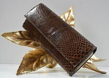 CLUTCH IN RETTILE OTTICA PELLE MARRONE BORSA BORSETTA True Vintage Bag Snake Brown