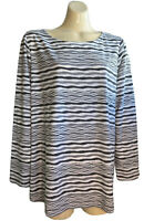 MAGGIE T Size 1 (14-16) T-Shirt Top Round Neckline Long Sleeves Charcoal Striped