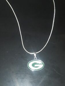 Green Bay Packers Logo Necklace Pendant on Sterling Silver Chain NFL Football