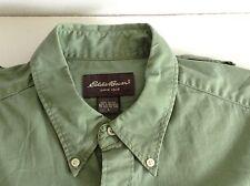 Vintage Mens Eddie Bauer Green Short Sleeve Button Up Down Collar Shirt Large L