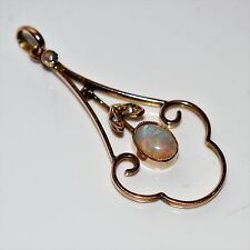 Beautiful Edwardian Opal & Pearl 9ct Rose Gold Pendant