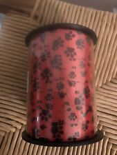 7/16 inch Red with Black Paws Curling Ribbon 250 Yards Dog Cat New