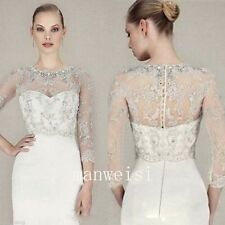 Sparkles Crystal Appliques Wedding Jacket Beaded Bridal Boleros Wraps 3/4 Sleeve