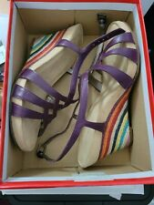 Aerosoles Purple Suede Open Toe Heels Shoes Rainbow Wedge Size 9.5M US Limited