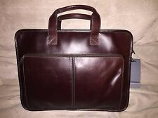 New Johnston & Murphy Leather Briefcase W/ Strap Union Station Collection