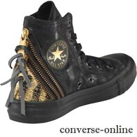 Womens CONVERSE All Star Black Gold TRIPLE ZIP HI TOP Trainers Boots SIZE UK 3.5