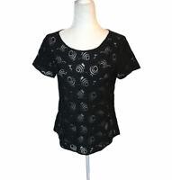 NWT Ann Taylor LOFT Black Floral Lace Shirt Blouse Short Sleeve Sheer Small S
