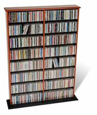 Prepac Double Width Wall Media Storage Rack with Adjustable shelves in Cherry