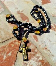 BLACK WOOD BEAD ROSARY  MEXICO CHRISTAIN RELIGIOUS WITH FREE SHIPPING