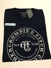 NEW A&F Abercrombie & Fitch Men's short sleeve logo cotton crew Tee XS navy blue