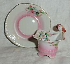 Vintage Japan Miniature Mini Tea Cup & Saucer Bird Red Parrot Handle Pink Flower