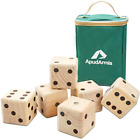 ApudArmis Giant Wooden Yard Dice Game, 3.5'' Big Dice Lawn Game Set with Carryin