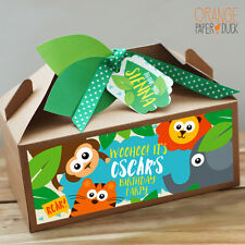 Personalised Kraft SAFARI JUNGLE Birthday Party Gift Box Tiger Lion Elephant