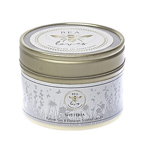 Bea Loves Scented Natural Soy Wax & Pure Beeswax 130g Candle in a Tin: Wisteria