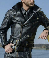 Men's Real Leather Bikers Jacket Quilted Padded Panels Bikers Leather Jacket