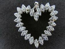 Diamond  Heart Shape Pendant 14k Solid White Gold With 18 Inch Chain 48 Diamonds