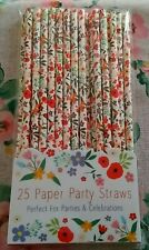 25 Cath Floral Paper Straws Biodegradable Eco Friendly Tableware Party