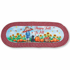 Festive Happy Fall Scarecrow Braided Rug - Seasonal Accent for Any Room in Home