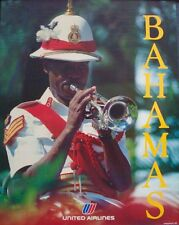 UNITED AIRLINES BAHAMAS 1983 Vintage Travel poster 22x28 NM