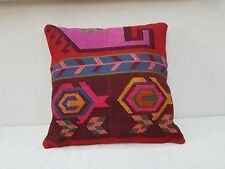Vintage Handwoven Big Multi Color Wool Turkish Kilim Pillow Cover, 24 X 24 inch