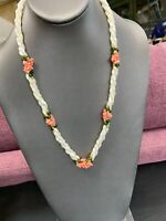 Vintage Mother of Pearl Coral Green Beaded Twisted Necklace Triple Strand  22""