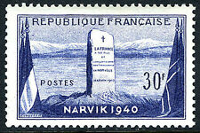 France 677, MNH. Battle of Narvik. Flags & Monument at Narvik, Norway, 1952
