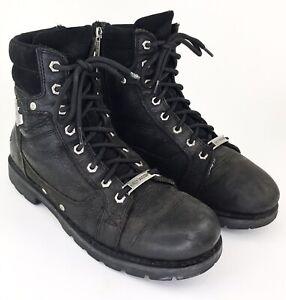 Harley Davidson Moto Men's 11 Black Leather Zip Boots Weathered Vintage Badges