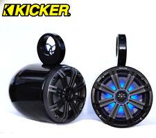 "Black Coated Wakeboard Speaker Kicker 45KM654 LED 6.5"" Marine Speaker Installed"
