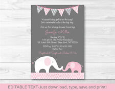 Pink Chevron Elephant Mom & Baby Printable Baby Shower Invitation Editable PDF