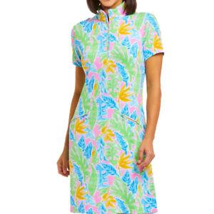 NWT Ladies IBKUL Allison Multicolored Short Sleeve Mock Golf Dress - S M & L