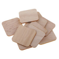 100x Wooden Square Cutout Slices Shapes Coasters Wood Craft Blank Plaque DIY