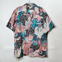 Hilo Hattie Hawaiian Shirt Button Down Japanese Inspired Print Mens Size X-Large